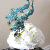 PEACOCK Wedding Cake Toppers -- Gorgeous & Glittery Iridescent Green w/ Mini Peacock Feathers, Curled Herl and Sparkling Swarovski Jewels