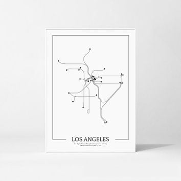 Los Angeles Subway Map Print, Los Angeles Metro Map Poster, Subway Print, Metro Print, Los Angeles Poster, Los Angeles Map, Minimalist Map