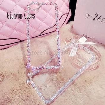 Pink Silver Bowknot Bling Crystal diamond Phone Cover For iPhone 4 5 5C SE 6 7 S S3 4 5 mini Note 3 4 5 S6 S7 S8 edge Plus case
