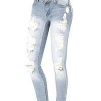 DESTRUCTED SKINNY JEANS
