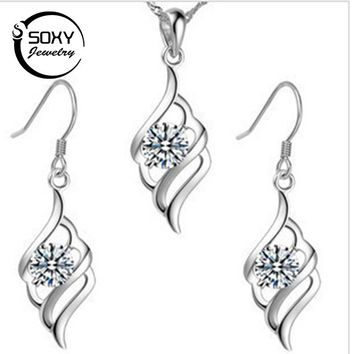 SOXY 100% Sterling Silver 925 Jewelry Sets for Women Angle wings Elegant Style Luxury Made Pendant FS007 Free Shipping Hot Sale