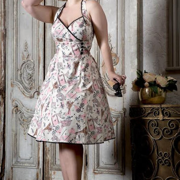 Claudine Retro Paris Print Flare Dress by VooDoo Vixen