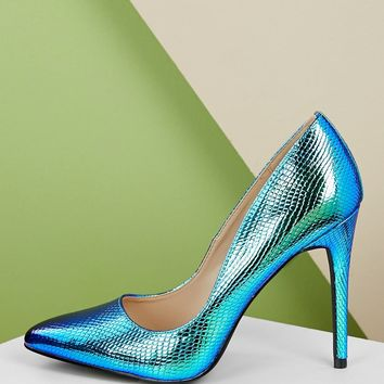 Pointy Toe Snake Embossed Stiletto Heel Pumps