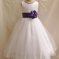 Flower Girl Curly Bottom Dress White with Purple for Easter Wedding Bridesmaid