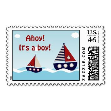 Nautical Sailboat Baby Boy Baby Shower Stamps from Zazzle.com