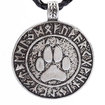 Nordic Vikings Print Bear Amulet Necklace Pendant The Norse Rune Talisman Bear