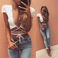 2016 White Sexy Women Cut-Out Bra crop tops Bustier Corset Tops Tank Tops Blouse Strappy sexy top lace bralette