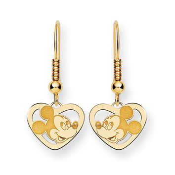 Disney's Mickey Mouse Heart Earrings in 14k Gold