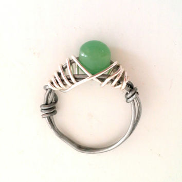 Jade Wire Wrapped Ring, Handmade Steel and Silver Ring for Women, Size 8 , One of a Kind OOAK, Ready To Ship