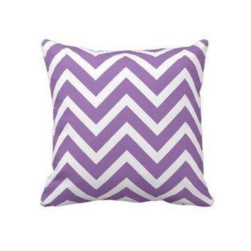 Purple & White Chevron Chic Throw Pillow from Zazzle.com