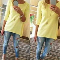 Plain T-Shirt in Yellow and Blue