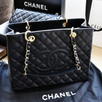 CHANEL Women Shopping Bag Leather Tote Handbag Bag
