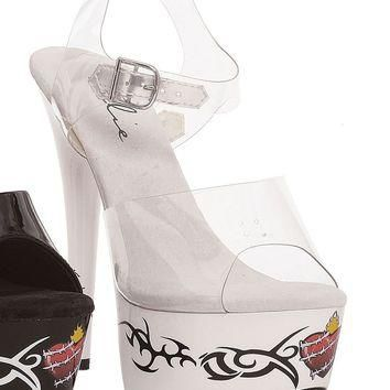 Ellie Shoes Brit Tribal Barbwire Heart Tattoo Platform Ankle Strap Sandal (6,Clear/Bla