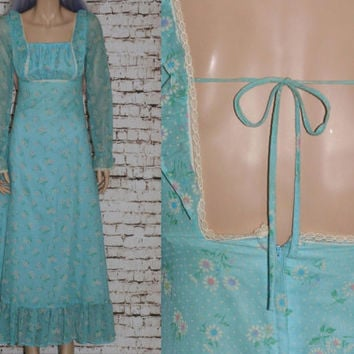 60s Maxi Dress Baby Blue Pastel Daisy Dasies Floral Print Hippie Hipster Boho Festival Ruffle TIered Lace Peasant Long Sleeves Sheer XS S