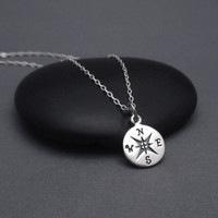 Compass Necklace, Graduation Gift, Sterling Silver College Graduation Gift, Compass Necklace with Message Card, Graduation Necklace