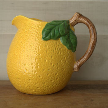 Yellow Pitcher Vase, Farmhouse Pottery Lemonade Pitcher, French Country Ceramic Pitcher,  Fruit Shaped Pitcher