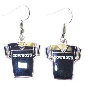 NFL Officially Licensed Dallas Cowboys Jersey Style Dangle Earrings