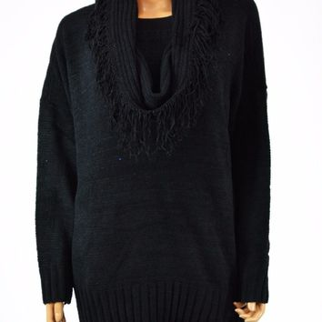 Charter Club Women's Long Sleeve Fringed Scarf Knitted Tunic Sweater Top Plus 2X