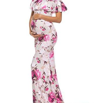 Saslax Womens Off Shoulder Maternity Slim Fit Gown for Photography Maxi Dress