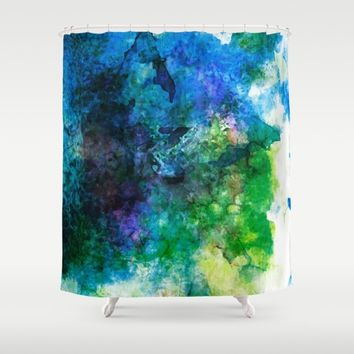 Blue Sea Shower Curtain by Samantha Lynn
