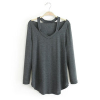 loveit sweater Cutout Long-Sleeve Asymmetrical Shirt -Black/Deep Grey/White/Grey