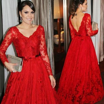 V-neck Crystals Red Lace Applique A-line Elegant Prom Dress Belt Long Sleeves Beading Evening Dress Party Formal Dress
