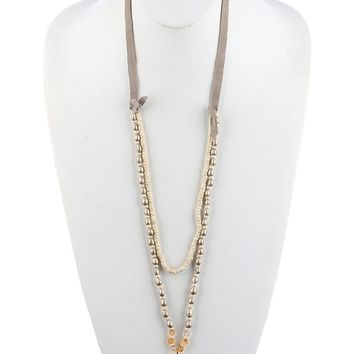 Pearl Two-Layer Arrowhead Faux Suede Strand  Necklace