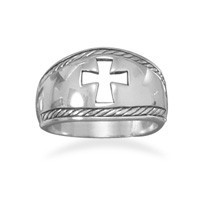 Oxidized Cut Out Cross Ring