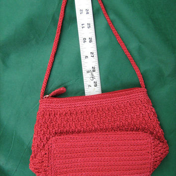 Liz Claiborne Red Crochet Handbag, Purse