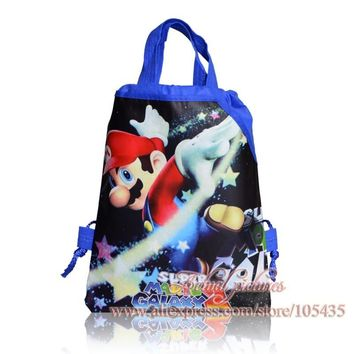Novelty 12pcs Super Mario Childrens Drawstring Backpack Kawaii Bags,Non-Woven Fabric Bags 29*22cm School Party Bags Kids Favor