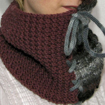 two tones cowl color block neck warmer colorful knit turtle neck brown cinnamon gray tube scarf winter fashion tagt team teamt