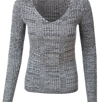 LE3NO Womens Soft Slim Fit Marled Ribbed Knit Sweater Top