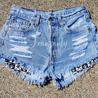 High waisted shorts distressed ripped destroyed jeans Grunge Hipster clothing by Jeansonly