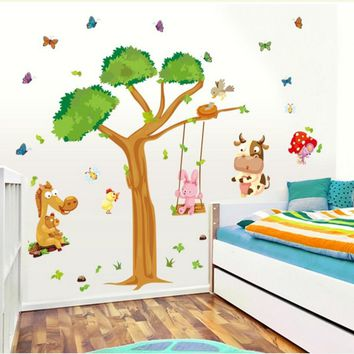 Free Shipping Oversize Cartoon Animal Monkey on Tree Wall Decal Baby Stickers for Kids Room Home Decor