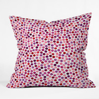 Garima Dhawan Watercolor Dots Berry Outdoor Throw Pillow