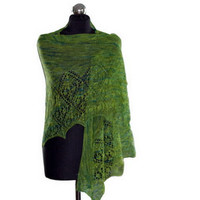 Green lacy shawlette, hand knitted wrap