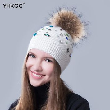 2017 The trend of guide color big drill Luxury decoration luxury hat a warm hat Lovely hair bulb