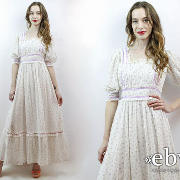 Hippie Dress Hippy Dress 1970s Dress 70s Dress Hippie Wedding Dress Hippy Wedding Dress White Floral Dress 70s Maxi Dress S Ethereal Dress