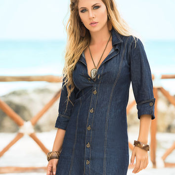 Blue Jean Button Up Summer Dress