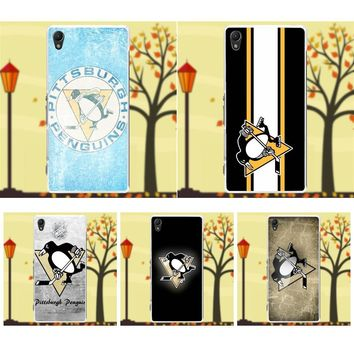 TPU Fashion Phone Case Logo For Pittsburgh Penguins Nhl For Sony Xperia Z Z1 Z2 Z3 Z4 Z5 compact Mini M2 M4 M5 T3 E3 XA