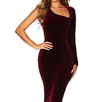 Burgundy Velvet Asymmetric Shoulder One Sleeve Midi Dress