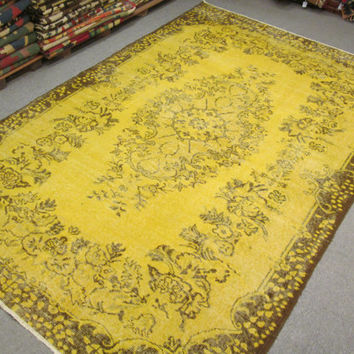 Vintage Oushak Handmade Faded - Light Yellow Overdyed Rug , Soft Pastel patterned rug  FREE SHIPPING WORLDWIDE