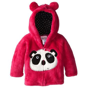 Boys and girls cotton coral velvet warm Outerwear new children's cartoon embroidery Hooded coat Baby Jacket Clothes for 1-5 Y