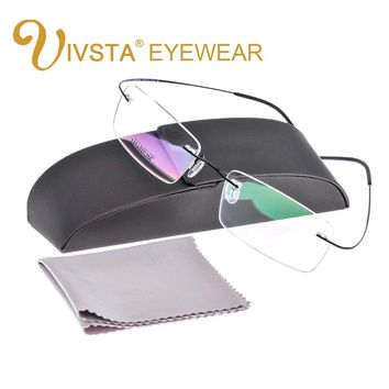 IVSTA with Original Case Titanium Glasses Men Frame Titanium Eyeglasses Rimless Optical Frame Women e1050 Silhouett Brand Logo