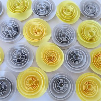 """Grey and Yellow loose paper flowers, popular home decorating color scheme, 24 1.5"""" roses, bulk party supplies, team spirit gift idea"""