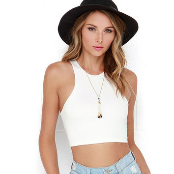 White Sleeveless Racer Back Cropped Top