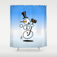 Dancing snowman Shower Curtain by Cardvibes
