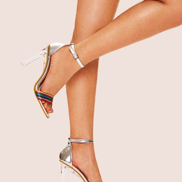 Colorful Rainbow Open Toe Ankle Strap Heels