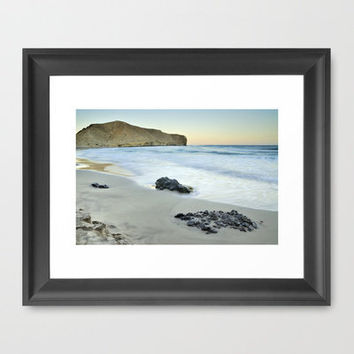 Black volcanic rocks Framed Art Print by Guido Montañés | Society6