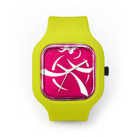 Girls on the Run Pink Watch in a Neon Yellow Strap